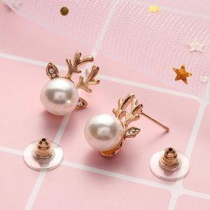 Gold Pearl Reindeer Earrings